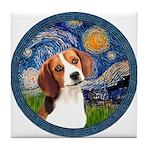 Starry Night Beagle #1 Tile Coaster