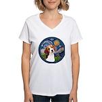 Starry Night Beagle #1 Women's V-Neck T-Shirt
