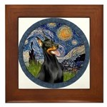 Starry Night Doberman (#1) Framed Tile