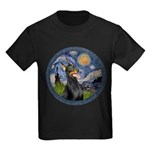 Starry Night Doberman (#1) Kids Dark T-Shirt