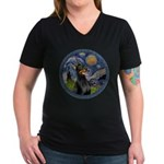 Starry Night Doberman (#1) Women's V-Neck Dark T-S