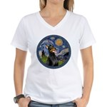 Starry Night Doberman (#1) Women's V-Neck T-Shirt