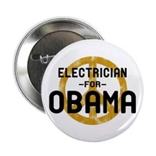 """Electrician for Obama 2.25"""" Button"""