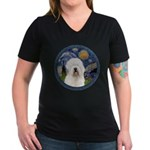 Starry Old English (#3) Women's V-Neck Dark T-Shir