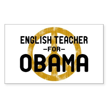 English Tchr for Obama Rectangle Sticker
