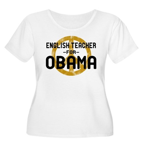 English Tchr for Obama Women's Plus Size Scoop Nec