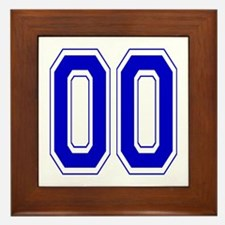 Varsity Font Number 00 Blue Framed Tile