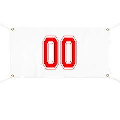 Varsity Font Number 00 Red Banner