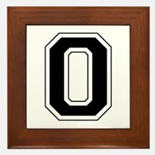 Varsity Font Number 0 Black Framed Tile