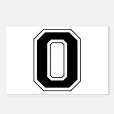 Varsity Font Number 0 Black Postcards (Package of