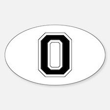 Varsity Font Number 0 Black Oval Decal