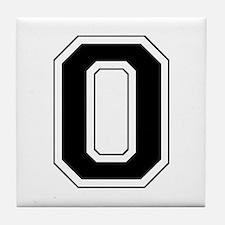 Varsity Font Number 0 Black Tile Coaster