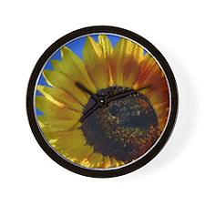 Sunflower Blue Sky Chalk Pain Wall Clock