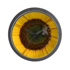 Sunflower with Bee Painting Wall Clock