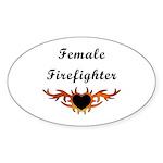 Female Firefighter Oval Sticker (50 pk)