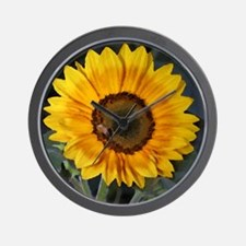 Sunflower Bee Painting Wall Clock