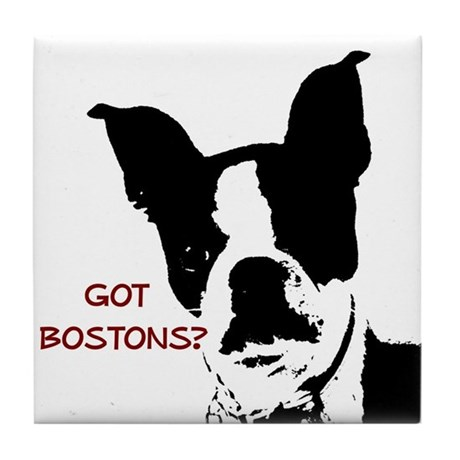 Got Bostons? Red Graphic Tile Coaster