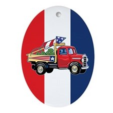 4th of July Vintage Truck Oval Ornament