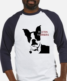 Boston Terrier Graphic Red Baseball Jersey