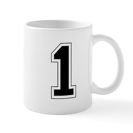 Varsity Font Number 1 Black Mug
