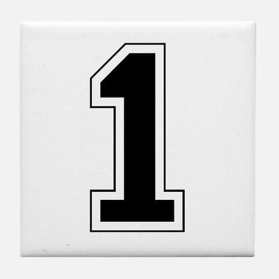 Varsity Font Number 1 Black Tile Coaster