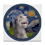 Starry Irish Wolfhound Tile Coaster