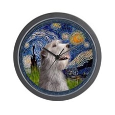 Starry Irish Wolfhound Wall Clock
