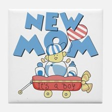 Red Wagon New Mom Tile Coaster