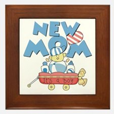 Red Wagon New Mom Framed Tile