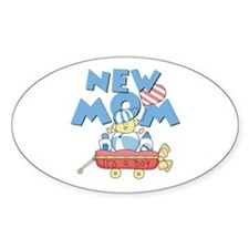 Red Wagon New Mom Oval Decal