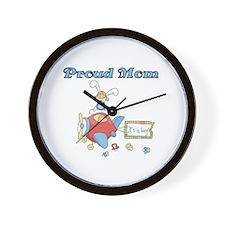 Airplane Proud Mom Wall Clock