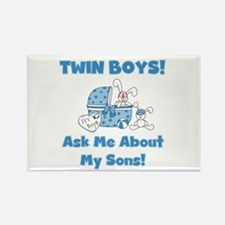 Mom Twin Boys Rectangle Magnet