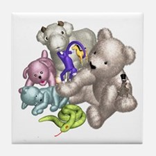 Beige Bear and Friends Tile Coaster