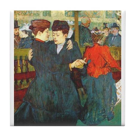 Two Women Dancing Tile Coaster