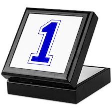 Varsity Font Number 1 Blue Keepsake Box