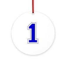 Varsity Font Number 1 Blue Ornament (Round)