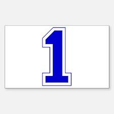 Varsity Font Number 1 Blue Rectangle Decal