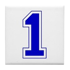 Varsity Font Number 1 Blue Tile Coaster