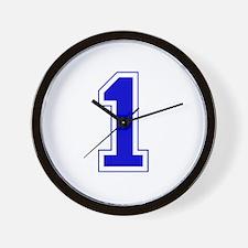 Varsity Font Number 1 Blue Wall Clock