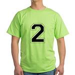 Varsity Font Number 2 Green T-Shirt