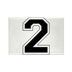 Varsity Font Number 2 Rectangle Magnet