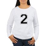 Varsity Font Number 2 Women's Long Sleeve T-Shirt