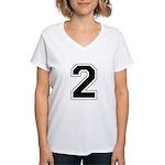 Varsity Font Number 2 Women's V-Neck T-Shirt