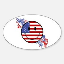 Fourth Of July Smiley Oval Decal