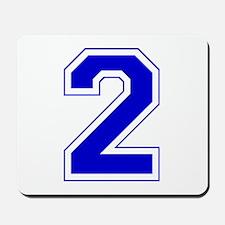 Varsity Font Number 2 Blue Mousepad