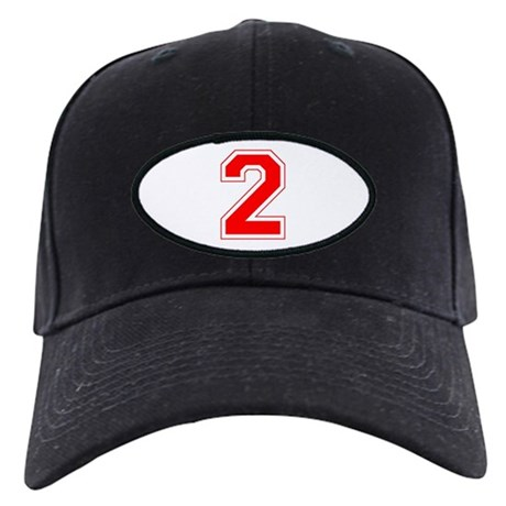 Varsity Font Number 2 Red Black Cap