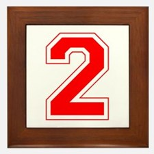 Varsity Font Number 2 Red Framed Tile