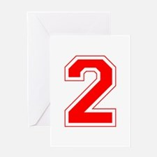 Varsity Font Number 2 Red Greeting Card
