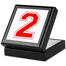 Varsity Font Number 2 Red Keepsake Box