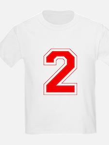 Varsity Font Number 2 Red T-Shirt